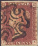 1841 1d Red SG8 Plate 21 'EA'